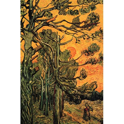 Buyenlarge Pine Trees against a Red Sky with Setting Sun by Vincent Van Gogh Painting Print on Canvas