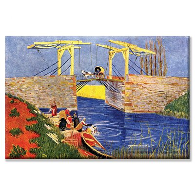 Buyenlarge Langlois Bridge at Arles with Women Washing Canvas Wall Art