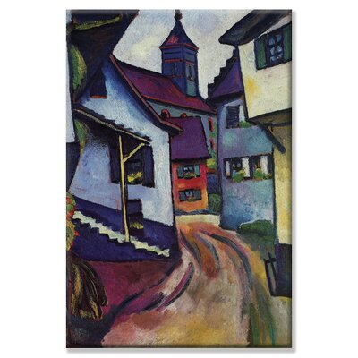 Street with a Church in Kinder Painting Print on Canvas