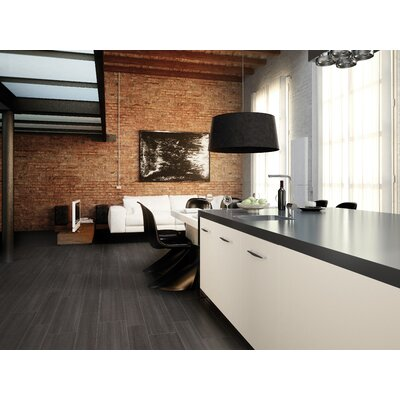 "Marca Corona Streaming 24"" x 6"" Glazed Porcelain Rectified in Black"