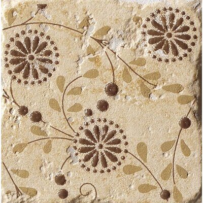 "Marca Corona Italian Country 4"" x 4"" Floral Deco in Giallo (Set of 3)"