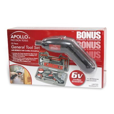 Apollo Tools 70 Piece Household Tool Kit with 6V Cordless Screwdriver