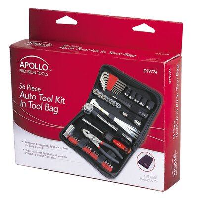 Apollo Tools 56 Piece Auto Tool Set In Zipper Case