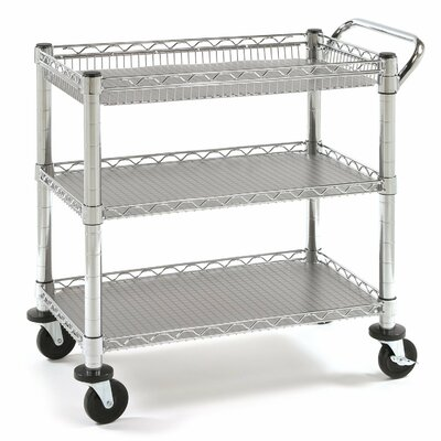 Seville Classics UltraZinc 3-Shelf NSF Commercial Steel Wire Utility Cart