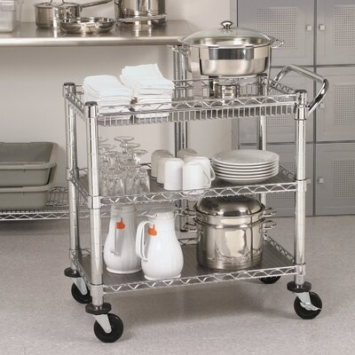 Seville Classics UltraZinc 3-Shelf NSF Commercial Steel Wire Utility Cart
