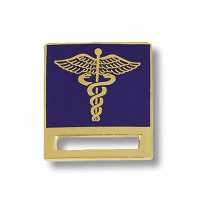 Prestige Medical Caduceus on Blue Background Cloisonne Badge Tac