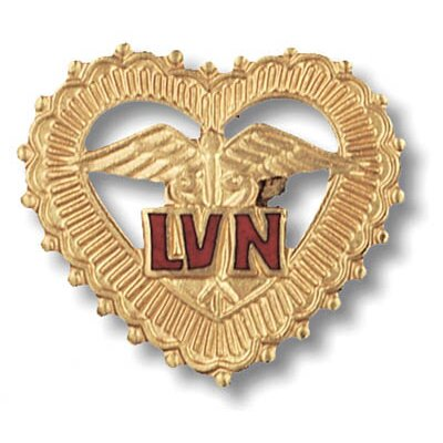 Prestige Medical Licensed Vocational Nurse Filigreed Heart with Emblem Pin