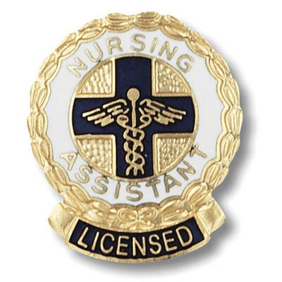 Prestige Medical Licensed Nursing Assitant Wreath Edge with Emblem Pin