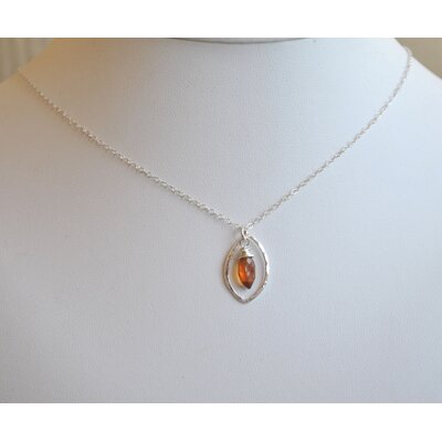 AEB Designs Sterling Silver Hessonite Leaf Necklace