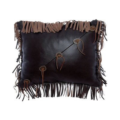 Accessory Pillows Leather with Fringe and Sliced Antler Buttons Pillow