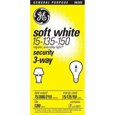 GE 15W 3-Way Incandescent Miser Light Bulb