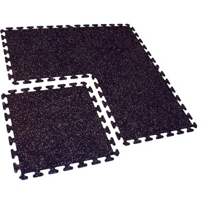 Mats Inc. iFLEX Recycled Rubber Interlocking Floor Tiles in Black with Gray Specks