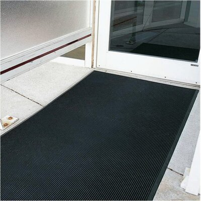 "Mats Inc. Brush Klean 36"" x 72"" Black Rubber Entrance Mat"