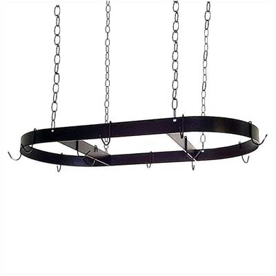 Oval Hanging Pot Rack with 12 Hooks and Chains