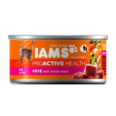 Iams ProActive Health Adult Wet Cat Food with Tender Beef (3-oz, case of 24)