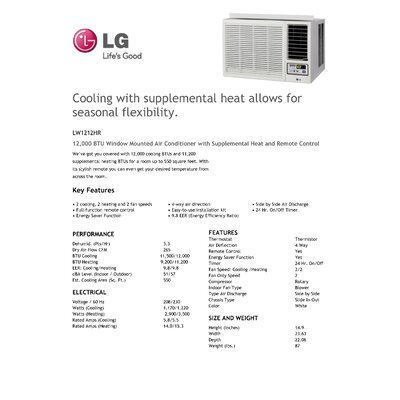 LG 12000 BTU Window-Mounted Air Conditioner with Supplemental Heat and Remote