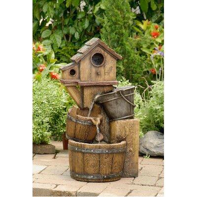 Polyresin and Fiberglass Tiered Bird House Fountain