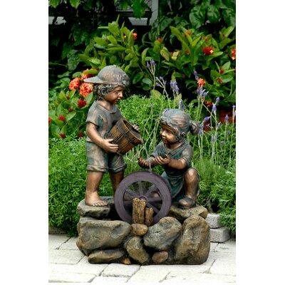 Polyresin and Fiberglass Two Kids Fountain