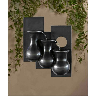Polyresin and Fiberglass Tiered Three Jugs Wall Fountain