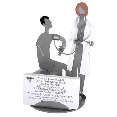 H & K SCULPTURES Desk Accessory Doctor with Female Patient Business Card Holder