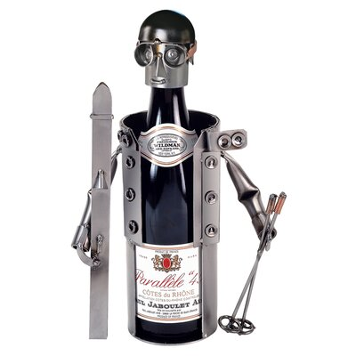 H & K SCULPTURES Skier Wine Caddy