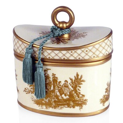 Classic Toile French Tulip Ceramic Candle