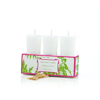 Seda France Classic Toile Citron Du Sud Votive Candle Set