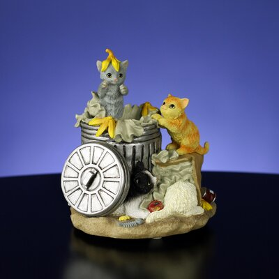San Francisco Music Box Animated Garbage Can Cats Figurine