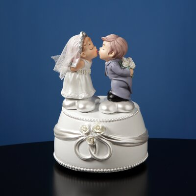 San Francisco Music Box Kissing Bride and Groom Animated Figurine