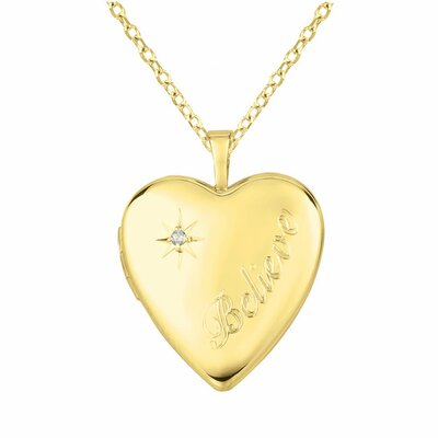 "Momento Lockets ""Believe"" Heart Shaped Locket with Diamond Necklace"
