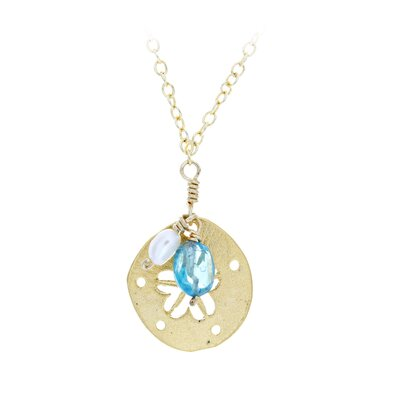 Rafia Jewelry Sand Dollar Apatit and Cultured Pearl Drop-Stone Necklace