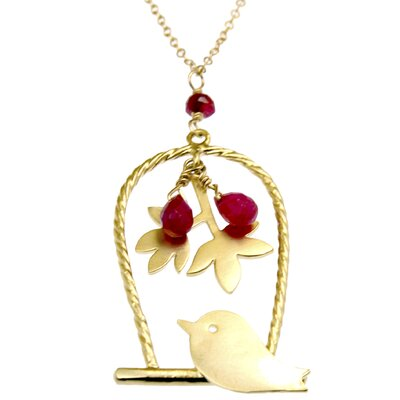 Rafia Jewelry Birdcage Ruby Drop-Stone Necklace