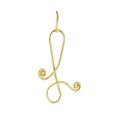 Rafia Jewelry Gold Braided Initial Letter Charm