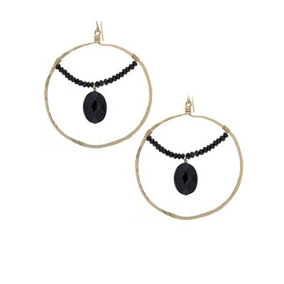 Onyx Hoop Drop Earrings