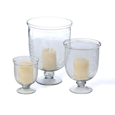 Garden Woodland Ferns Hurricane Candleholders (Set of 3)
