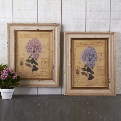 Two's Company Botanical Vintage Hydrangea Wall Art Print (Set of 2)