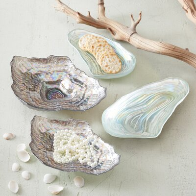 Twos Company Watercolors Sea Glass Lustrous Shell Plates (Set of 4)