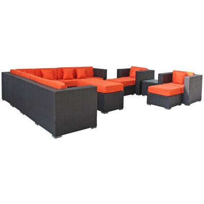 Modway Cohesion 11 Piece Sectional Deep Seating Group with Cushions