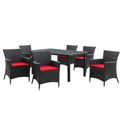 Modway Deco 7 Piece Dining Set with Cushions