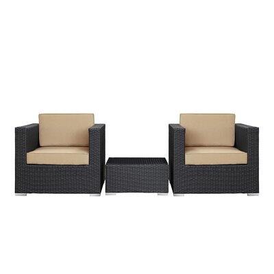 Modway Burrow 3 Piece Deep Seating Group with Cushion