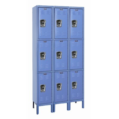 Hallowell ReadyBuilt Three Wide Triple Tier Locker in Marine Blue (Quick Ship)