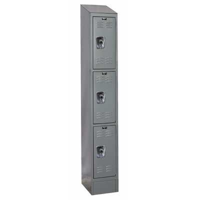 Hallowell ReadyBuilt II One Wide Triple Tier Locker in Hallowell Gray