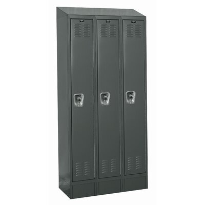 Hallowell ReadyBuilt II Three Wide Single Tier Locker in Hallowell Gray (Assembled)