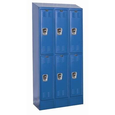 Hallowell 1326ReadyBuilt II Three Wide Double Tier Locker in Marine Blue (Assembled)