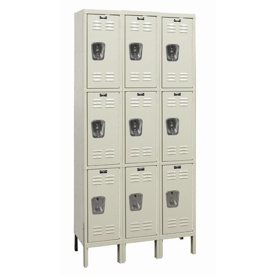 Hallowell Galvanite Locker Triple Tier 3 Wide (Knock-Down) (Quick Ship)