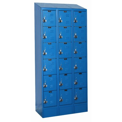 Hallowell ReadyBuilt II Three Wide Six Tier Locker in Marine Blue (Assembled)