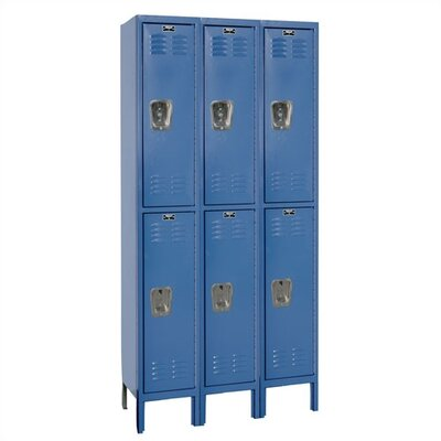 Hallowell Assembled Premium Stock 3 Section Double Tier Lockers