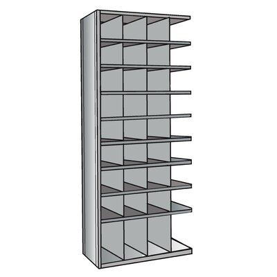 Hallowell Hi-Tech Metal Bin Shelving Add-on Unit (32) 9&quot; W x 9&quot; H, (4) 9&quot; W x 12&quot; H Bins