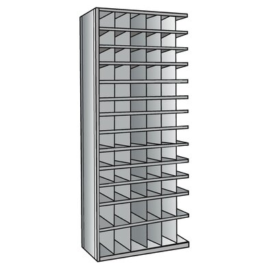 "Hallowell Hi-Tech Metal Bin Shelving Add-on Unit (66) 6"" W x 6"" H, (12) 6"" W x 9"" H Bins"