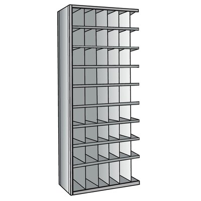 "Hallowell Hi-Tech Metal Bin Shelving Add-on Unit (48) 6"" W x 9"" H, (6) 6"" W x 12"" H Bins with 3"" Bin Fronts"